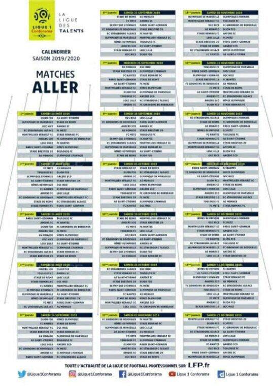 Calendrier Ligue 1 2019 2020.Calendrier Ligue 1 Saison 2019 2020 Tweetty8