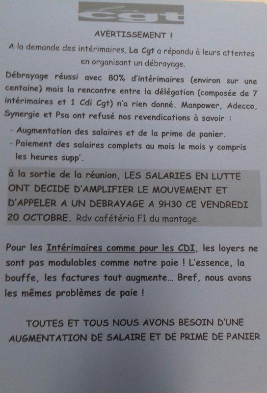 Info CGT Cie Compiegne Groupe Cie Automotive: Enfin des hommes courageux, à PSA Rennes, 60 intérimaires en grève reconductible pour des augmentations de salaires