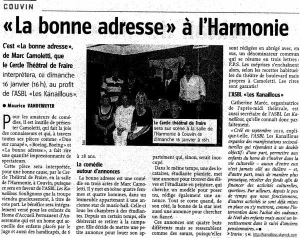 PRESSE : L'Avenir (13/01/11)