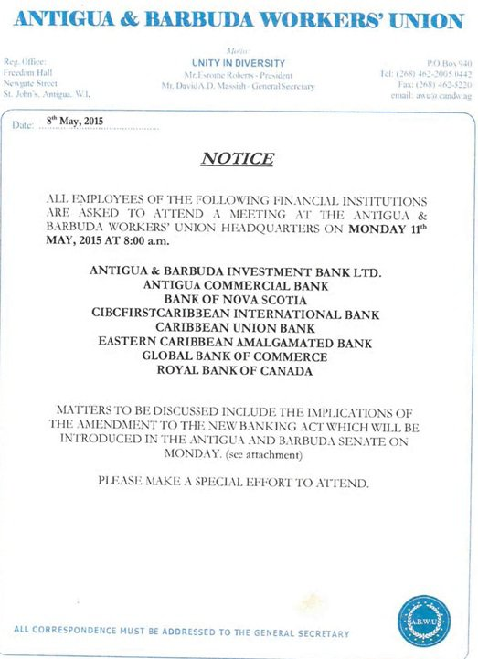 Antigua Barbuda Workers' Union Invitation to Protest Action by Bank Staff