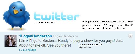 LOGAN ET TWITTER ▬ @1LoganHenderson  à twitter le samedi vingt-et-un mai .