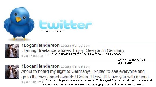 LOGAN ET TWITTER ▬ @1LoganHenderson  à twitter le mardi vingt-quatre mai .