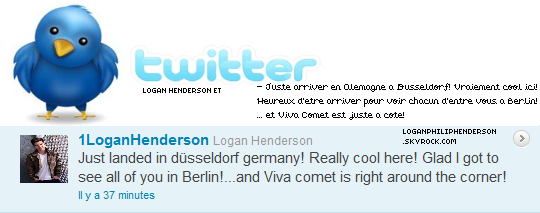 LOGAN ET TWITTER ▬ @1LoganHenderson  à twitter le mercredi vingt-cinq mai .