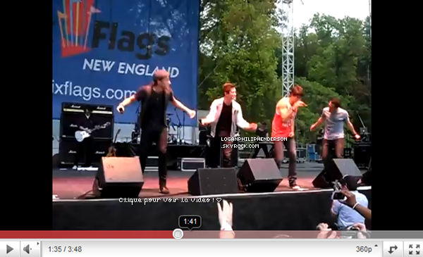 27 MAI 2011 ▬ Logan et les Big Time Rush on chanter Boyfriend au Viva Comet en Allemagne puis ont posé pour une photo.  Quelques jours avant, le vingt-deux mai, ils avaient performés à Six Flags New England. ( voir vidéo ci-dessous. )