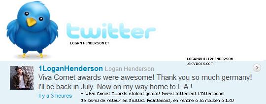 LOGAN ET TWITTER ▬ @1LoganHenderson  à twitter le samedi vingt-huit mai .