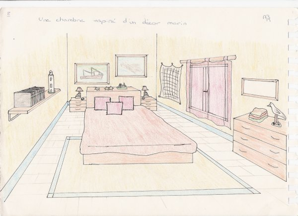 Awesome chambre en perspective cavaliere images design for Dessin chambre en perspective