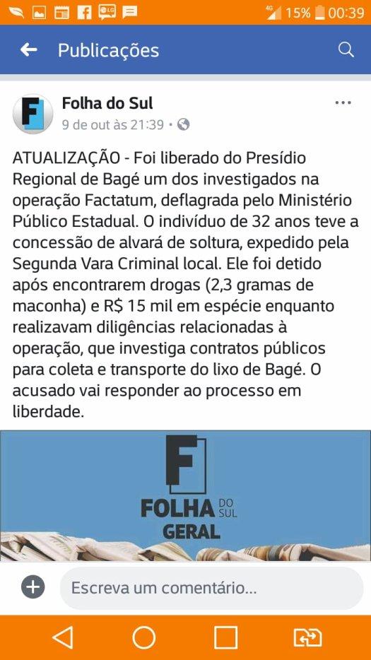 Notícia do Jornal Folha do Sul