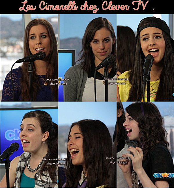 Les Cimorelli chez Clever TV . ¨Photos du Skype avec HollyWire . T-Shirt pour la fondation de Music For Newton .Nouvelle icone & BackGround pour Katherine .