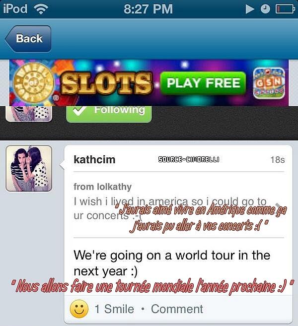 Annonce de la tournée mondiale en 2014 / Interiew de Katherine pour Real Life Husband ..