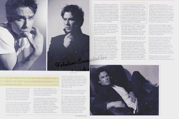 Recemment: Ian a fait la couverture du magazine « ORIGIN ».