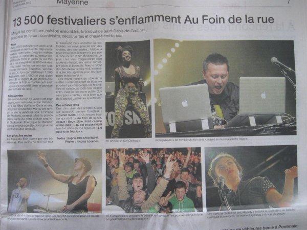 """Article N°33 - 06 juillet 2012 - Festival """"Au foin de la rue"""""""