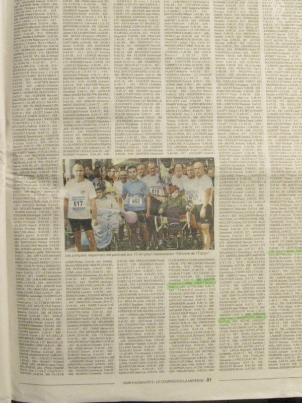 Article N°38 - 30 sept. 2012- 10 km des Ecluses (St Jean sur Mayenne - Laval)