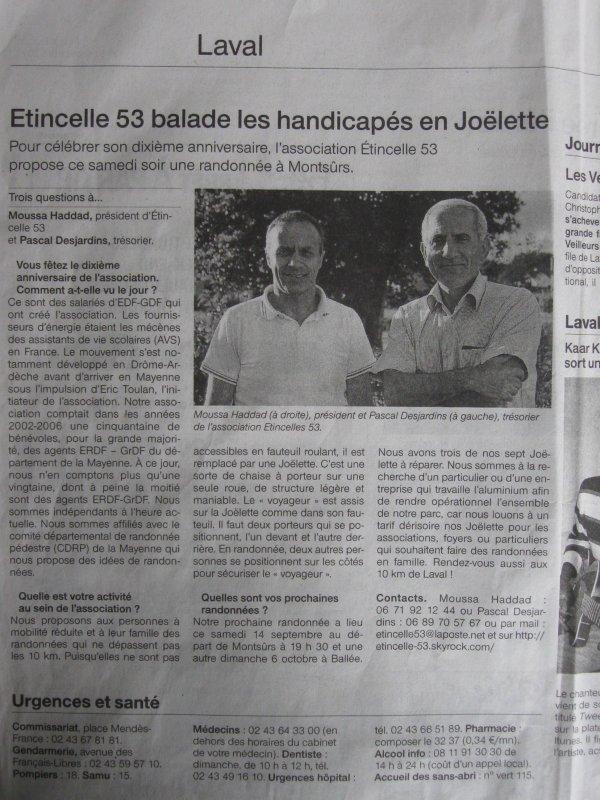 Article Presse Ouest France du 14 septembre