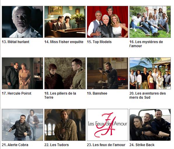 Classement des séries par Télé Loisir Semaine 30