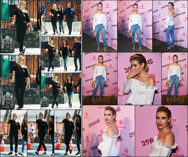 07.09.2017 ─ Emma Roberts a été photographiée, alors, qu'elle se promenait avec Lea Michele, étant, dans Soho.Le soir la belle était présente à l'événement « Refinery29 Third Annual 29Rooms: Turn It Into Art » dans New-York C. Concernant sa tenue, c'est un top !
