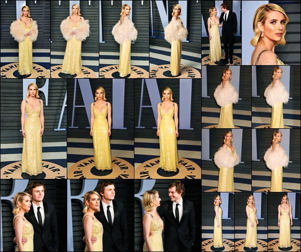 -04/03/2018- ─ Emma Roberts était présente lors de la cérémonie « Vanity Fair Oscar Party », ayant lieu, à Beverly Hills !C'est en compagnie de son petit-ami, Evan Peters, que la belle E. a pris la pose sur le tapis rouge ! Concernant sa tenue, c'est un beau top pour ma part !