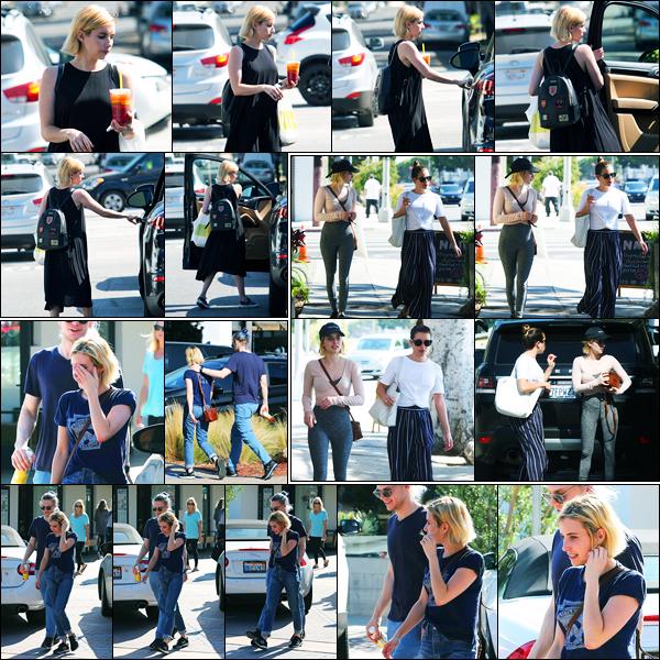 14.08.2017 ─ Emma Roberts a été photographiée, alors, qu'elle quittait le « Lemonade Cafe, étant, à Beverly Hills.Le 17/08, la belle Emma R. a été photographiée avec Lea Michele à Larchmont neighborhood. Et le lendemain, elle a été photographiée avec Evan Peters.