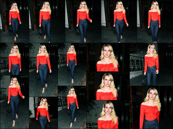 06.11.2017 ─ Emma Roberts a été photographiée alors quittait le restaurant Italien « Madeo » au West Hollywood.Enfin une nouvelle sortie de la belle blondinette en ce mois de novembre ! Concernant  sa tenue, c'est un très jolie top de ma part, et vous dites vos avis !