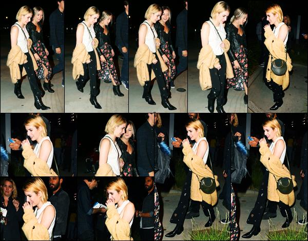 21.09.2017 ─ Emma Roberts a été photographiée, alors, qu'elle arrivait au concert de Harry Styles, à Los Angeles.C'est en compagnie de son amie Billie Lourd que la belle s'y est rendue... Concernant sa tenue, c'est un beau top de ma part, personnellement, vos avis ?