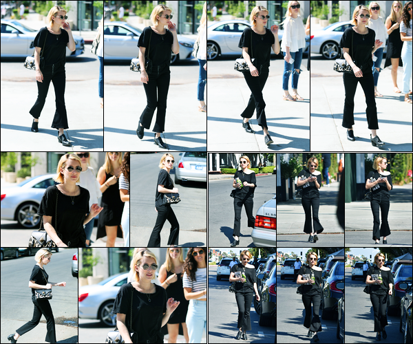 22.09.2017 ─ Emma Roberts a été aperçue alors qu'elle faisait du shopping, dans Melrose Place, West Hollywood.C'est dans un look totalement noir que la belle a décidée de se prendre du bon temps et faire du shopping à West Hollywood. Sa tenue est bof pour moi !