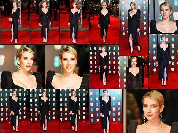 -18/02/2018- ─ Emma Roberts était présente à la cérémonie des « 71st British Academy Film Awards », étant, à Londres.La belle blondinette enchaînent les sorties dans la belle ville de Londres, puisqu'elle a posée sur le tapis rouge de la cérémonie dans une jolie tenue, top.