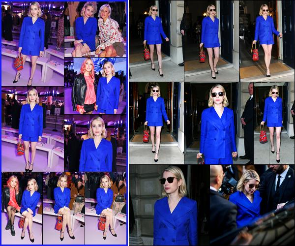 -16.02.2018- ─ Emma Roberts était présente lors du défilé de « Mulberry » de la fashion week étant à Londres.La belle blonde a été photographiée arrivant au défilé auparavant ! C'est vêtue d'une tenue toute bleu que la belle est apparue à Londres, un gros top !