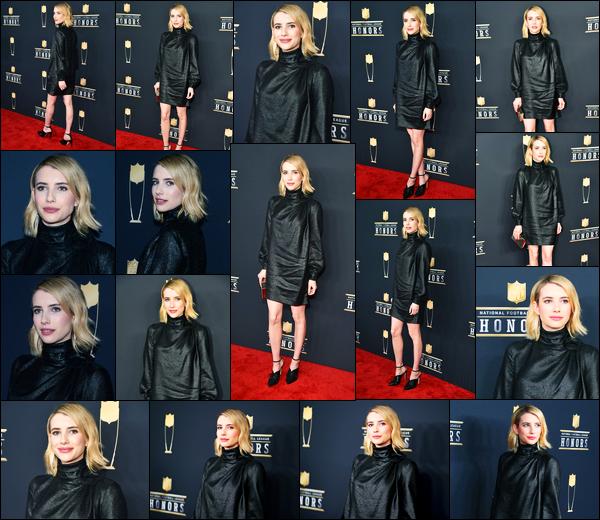 -03/02/2018- ─ Emma Roberts était présente lors des NFL Honors ayant lieu à l'Université Minnesota étant à Minneapolis.La belle blondinette E. commence bien le mois de février pour enchaîner les events ! C'est dans une tenue sombre que la belle est apparue, c'est un top !