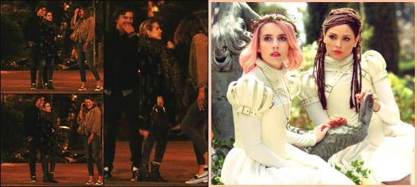 -22/04/2018- ─ Emma Roberts a été photographiée, alors, qu'elle allait dîner avec son petit ami dans la ville à Barcelone !Emma et Evan étaient également en compagnie de MIlla Jovovich et Eiza Gonzalez. + Découvrez un premier still de son nouveau film. Sa tenue est top !