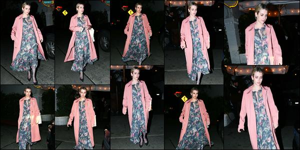 -21/03/2018- ─ Emma Roberts a été photographiée alors qu'elle quittait le « Chateau Marmont » dans le West Hollywood.La belle actrice Emma Roberts s'est rendue à un dîner dans le célèbre restaurant gastronomique... Concernant sa tenue, c'est un beau top pour ma part !