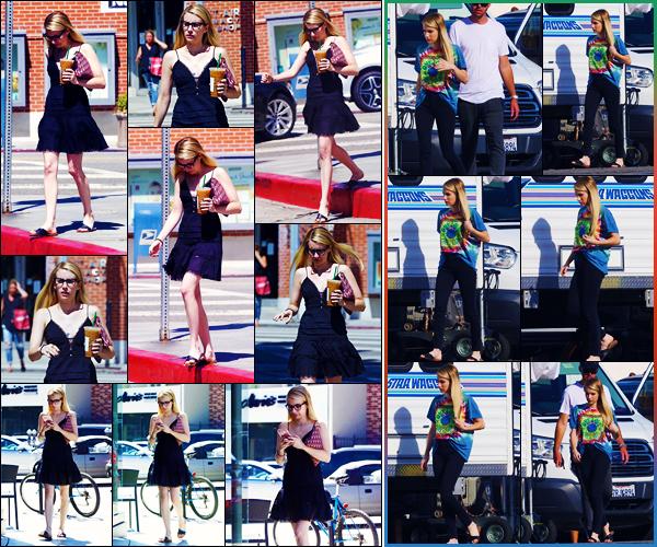 -30/08/2018- ─ Emma Roberts a été vue, alors, qu'elle était sur le tournage de « American Horror Story », à Los Angeles !Un peu plus tôt dans la journée, Emma R. a été photographiée, alors, qu'elle venait de s'acheter un café glacé, à Brentwood... Ses tenues sont des tops !