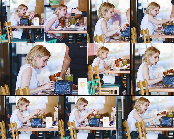 12.06.2016 ─ Emma Roberts a été photographiée quittant le California roll & Sushi fish,  étant dans Los Angeles.La magnifique actrice était très souriante lors de cette sortie ! Concernant sa tenue, on l'aperçoit juste, on ne voit pas grand chose malheureusement