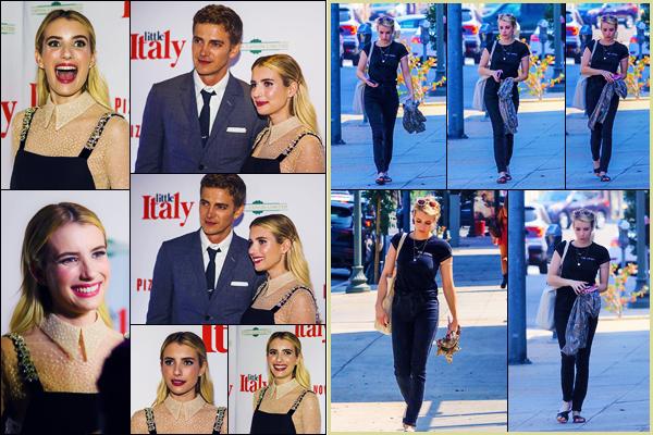 -22/08/2018- ─ Emma Roberts était présente lors de l'avant-première Mondiale de « Little Italy », à Toronto, au Canada !Quelques jours après, le 25/08, Emma a été photographiée allant déjeuner dans le West Hollywood. Concernant ses tenues, c'est des tops pour ma part !