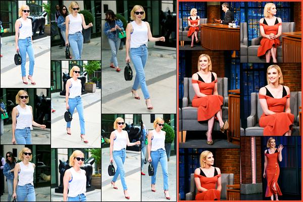 12.09.2017 ─ Emma Roberts a été photographiée, alors, qu'elle quittait son hôtel, se situant dans New-York City.Notre belle actrice E. a participé à l'émission ce même-jour, « Late Night with Seth Meyers » ! Concernant ces deux tenues, c'est deux tops de ma part !