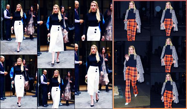 -09/09/2018- ─ Emma Roberts a été photographiée, alors, qu'elle quittait son hôtel pour la fashion week dans New-York.Plus tard dans la soirée, la belle mannequin Emma R. a été photographiée allant dîner dans New-York... Concernant ses tenues, ce sont des beaux tops !