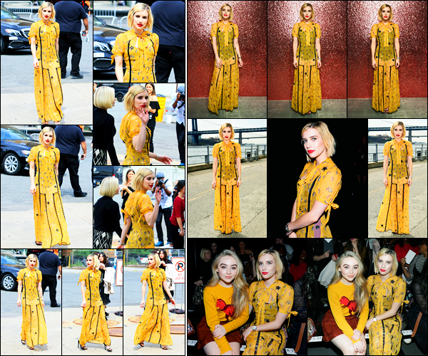 12.09.2017 ─ Emma Roberts a été aperçue alors qu'elle arrivait au défilé de la marque « Coach », dans New-York.La belle était présente au défilé pour la fashion week, dans une robe jaune. Concernant sa tenue, pour ma part, c'est un gros flop, je n'aime pas du tout.
