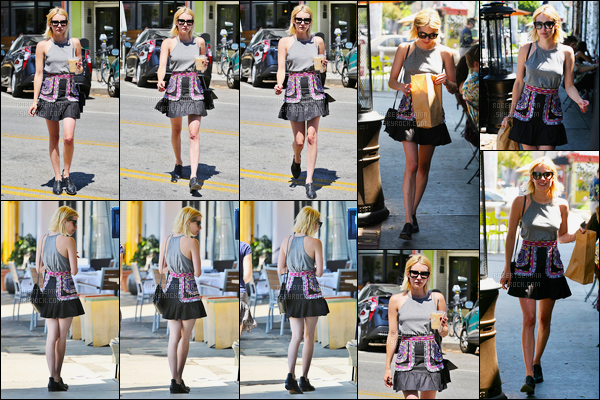 07.07.2016 ─ Emma Roberts a été photographiée alors qu'elle se promenait, dans les rues, dans West Hollywood.La magnifique actrice était très souriante, elle est rayonnante ! Concernant sa tenue, elle est spécial mais plutôt jolie, c'est donc un top de ma part !