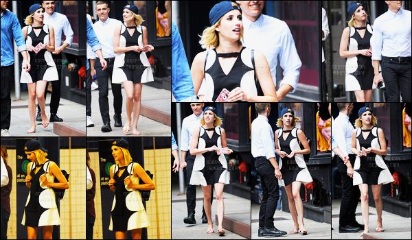 09.07.2016 ─ Emma Roberts a été photographiée, alors, qu'elle se promenait, dans les rues, dans New-York City.La magnifique actrice était accompagné de Dave Franco, ils vont commencer la promotion du film Nerve très bientôt. La tenue, je n'aime pas, un flop!