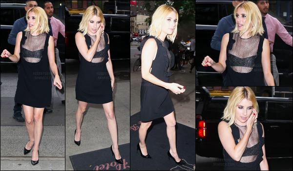11.07.2016 ─ Emma Roberts a été photographiée arrivant, puis, quittant, son hôtel, qui est dans, New-York City !Entre temps notre magnifique actrice s'est rendue pour une interview au Late Night with Seth Meyers. Sa tenue est plutôt jolie pour ma part, un top !
