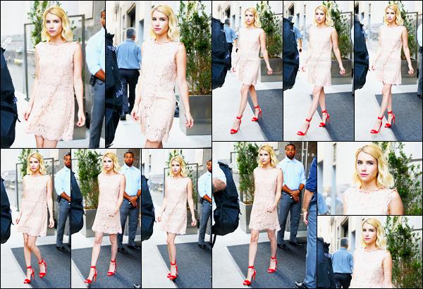 12.07.2016 ─ Emma Roberts a été photographiée arrivant, puis, quittant, son hôtel, qui est dans, New-York City !La belle actrice a participer à plusieurs émission tel que AOL Build Speaker Series, Today ainsi que Whatch What Happens Live, ses tenues sont des top