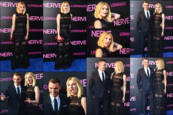 12.07.2016 ─ Emma Roberts était présente lors de l'avant-première du film Nerve, se déroulant à New-York City.La belle actrice était évidemment accompagnée de l'acteur Dave Franco qui est son partenaire dans le film. Concernant la tenue, un top de ma part !