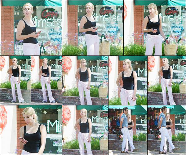 27.07.2016 ─ Emma Roberts a été aperçue, alors, qu'elle était sur le set, de Scream Queens, étant, à Los Angeles.Emma R a donc commencer à tourner pour la saison 2 de la série aux côtés de John Stamos. J'aime bien la tenue qu'elle porte pour le tournage, top !