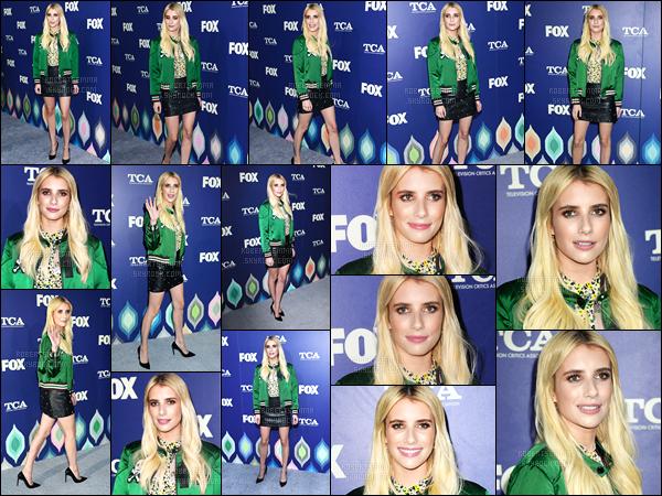 08.08.2016 ─ Emma Roberts était présente lors des «FOX 2016 Summer TCA All-Star Party», dans Los Angeles !La belle actrice était accompagné du cast de Scream Queens... Concernant sa tenue, je ne suis pas très fan, surtout de sa veste verte. C'est un flop !