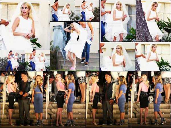 19.08.2016 ─ Emma Roberts a été aperçue, pendant, qu'elle était sur le set de Scream Queens, dans Los Angeles.Emma a donc repris le tournage pour la saison 2 de la série dont elle est l'actrice principale. On peut la voir en robe de mariée, ses 2 tenues sont top.