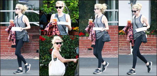 23.10.2016 ─ [Emma Roberts a été photographiée alors qu'elle a été chercher à manger, dans West Hollywood.Lunette de soleil sur le nez et café à la main, Emma a été photographiée retournant à sa voiture. Concernant sa tenue, simple mais un top pour moi