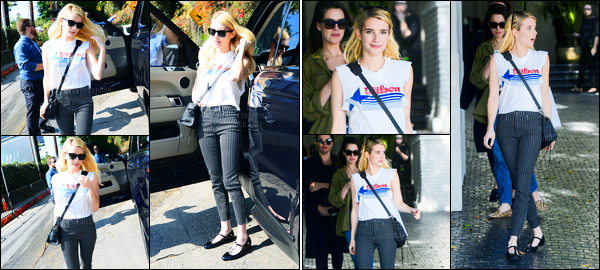 26.10.2016 ─ Emma Roberts a été photographiée alors qu'elle arrivait à l'hôtel Marmont étant à Los Angeles, CA.Un peu plus tard, elle a été photographiée quittant l'hôtel Marmont. Concernant sa tenue, c'est un bof, je suis pas fan du bas mais ce n'est pas flop..