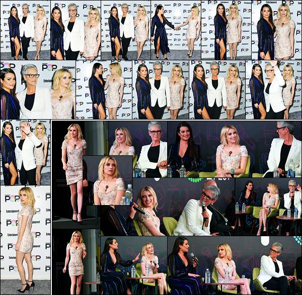 30.10.2016 ─ Emma Roberts était présente aux «Entertainment Weely's Popfest at The Reef» dans Los Angeles.Notre belle blondinette a posée avec l'actrice Lea Michele.. Concernant la tenue de la belle Emma, un top de ma part, elle est vraiment magnifique !