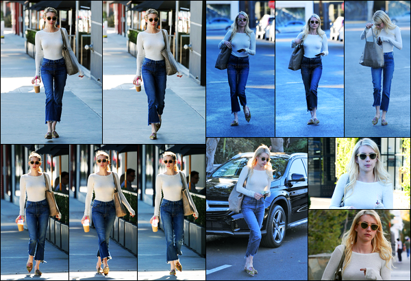 14.11.2016 ─ Emma Roberts a été aperçue, alors, qu'elle quittait le salon Nine Zero One, étant, à West Hollywood.La belle a été se refaire une beauté a ses cheveux... Concernant sa tenue, j'aime assez sa tenue, qui est toute simple, mais c'est un top, pour moi !
