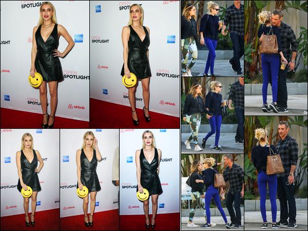 19.11.2016 ─ Emma Roberts a été photographiée, alors, qu'elle était en ville dans les rues étant dans Los Angeles.La belle été en compagnie de son agent immobilier.. Plus tard, Emma R. était présente au lancement Airbnt.. Ces deux tenues sont de très beau top !