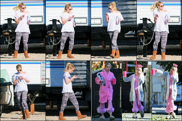 02.12.2016 ─ Emma Roberts a été aperçue, alors, qu'elle était sur le set de Scream Queens, étant, à Santa Clarita.Emma a donc repris le tournage pour la saison 2 de la série dont elle est l'actrice principale. Concernant la tenue, c'est décontracté, c'est donc un flop.