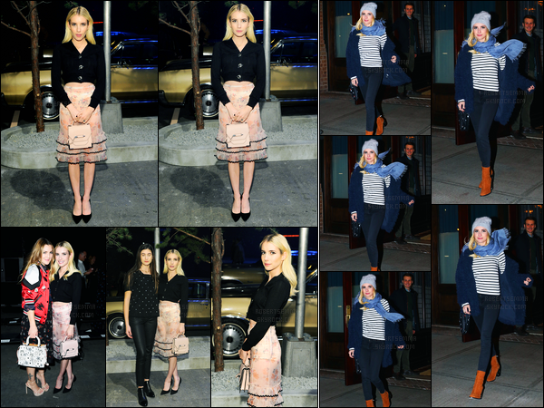 08.12.2016 ─ Emma Roberts était au «Coach 75th Anniversary : Women's Pre-Fall and Men's Fall Show», à N-Y.Un peu plus tard dans la soirée, Emma a été vue quittant son hôtel. Concernant ces deux tenues, j'aime beaucoup la deuxième pour ma part... Top !